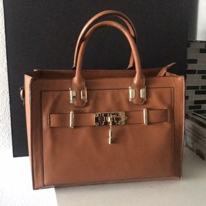 Tan Satchel bag with gold hardware